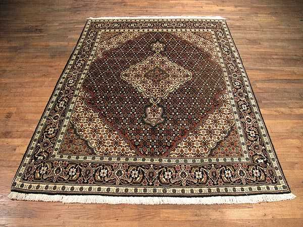 This Persian Tabriz Mahi Design Rug Is Of High Quality Both In Composition And Detailed Ornamentation Its Main Border Field Have A Black Background