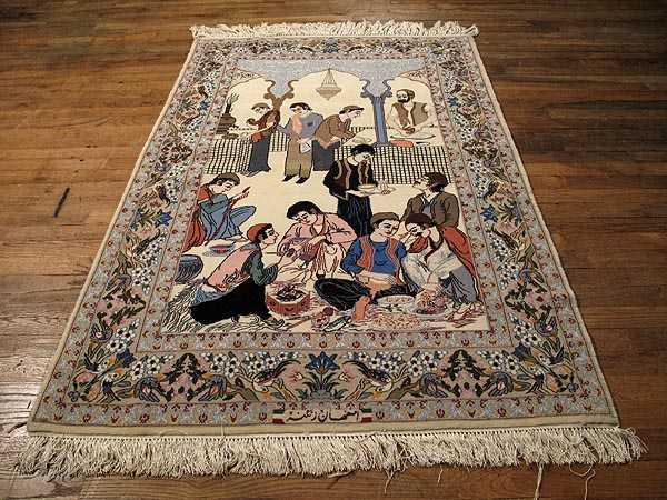 Persian Pictorial Isfahan Carpet 3 7 X 5 4 Isfahan