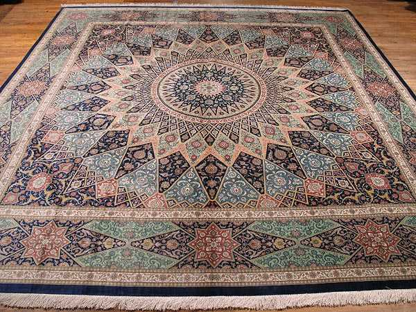 Persian Gonbad Silk Quom Carpet 9 7 X 9 7 Silk Quom