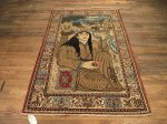 SIL232 4X7 FINE ANTIQUE PERSIAN QUOM RUG DERVISH PICTORIAL