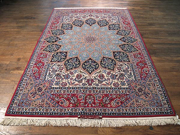 SIL259 6X9 FINE PERSIAN GONBAD ISFAHAN RUG