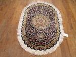 SIL1902 2X3 PURE SILK PERSIAN OVAL QUM RUG