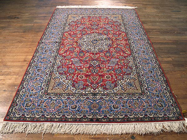 SIL268 5X8 FINE PERSIAN ISFAHAN RUG SILK FOUNDATION