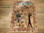 SIL2212 1X2 PERSIAN TABRIZ PICTORIAL RUG