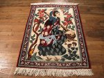SIL481 3X3 FINE PERSIAN PICTORIAL QUOM RUG