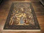 SIL167 8X11 FINE PERSIAN PICTORIAL QUOM RUG