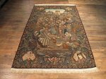 SIL203 6X9 FINE ANTIQUE PERSIAN PICTORIAL TABRIZ RUG